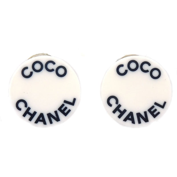 CHANEL Button Earrings Clip-On Whit 07P