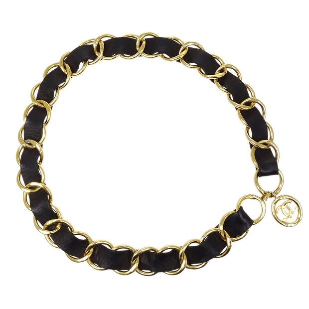CHANEL Medallion Chain Belt Black Gold