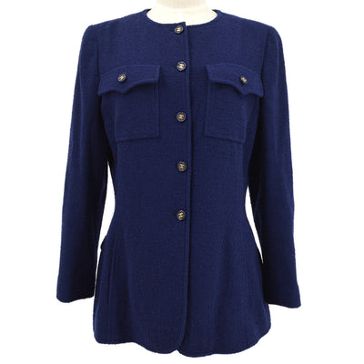 CHANEL 95A #42 Collarless Single Breasted Jacket Navy
