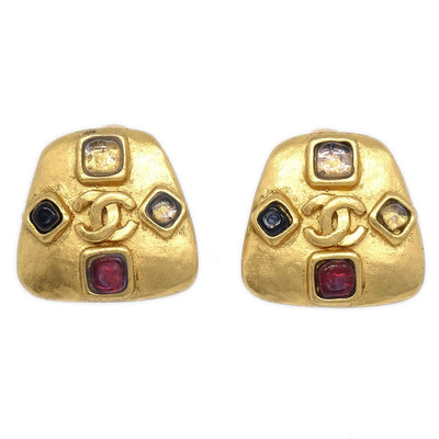 CHANEL Trapezoid Bijou Earrings Clip-On 99A Gold