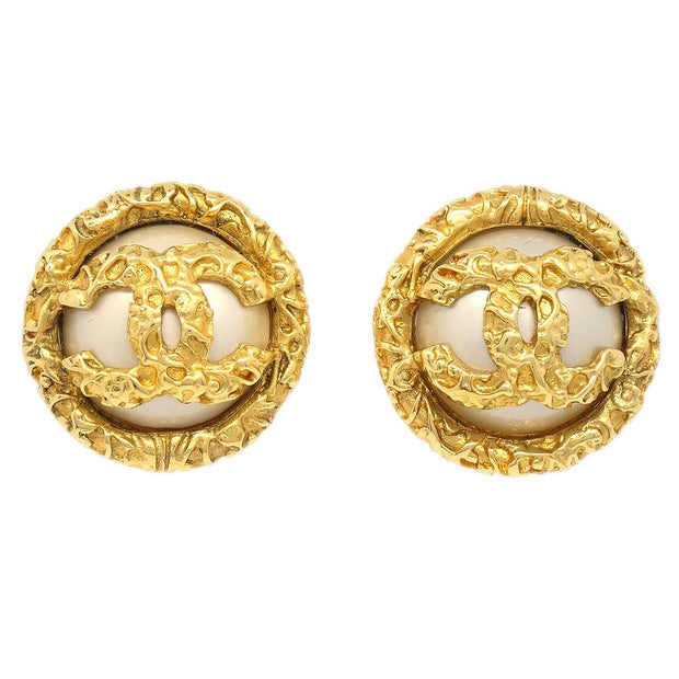 CHANEL Imitation Pearl Button Earrings Clip-On 93A