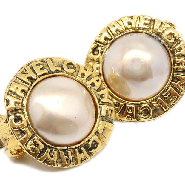 CHANEL Imitation Pearl Button Earrings Clip-On