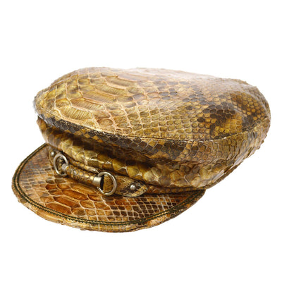 Christian Dior Hunting Cap Hat Brown #58 Python Small Good