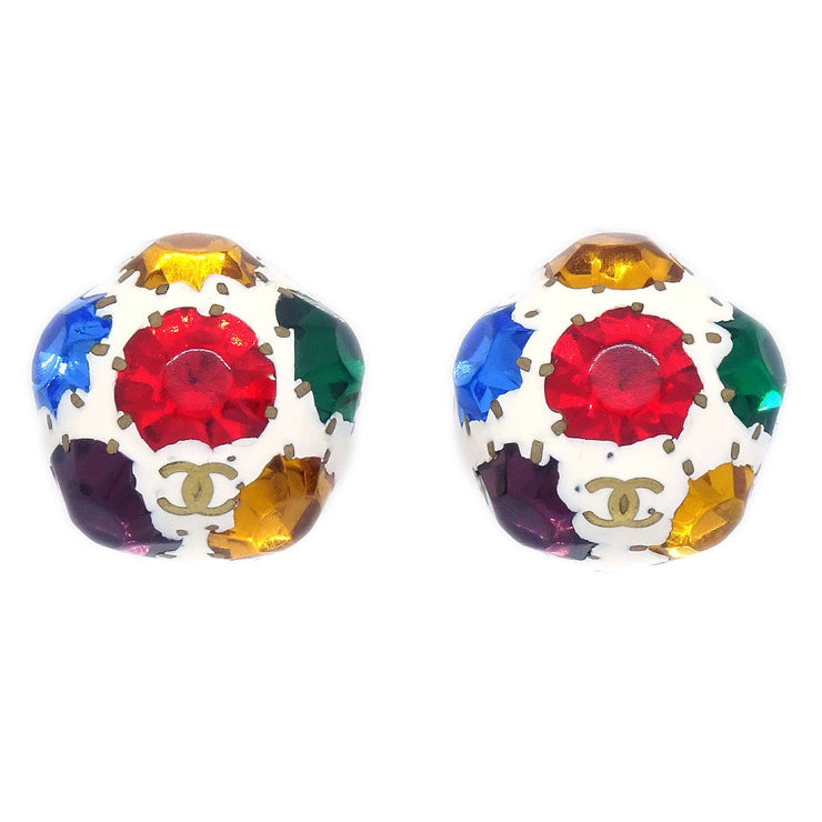 CHANEL Gripoix Stone Earrings Gold Clip-On 98P