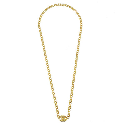CHANEL Turnlock Gold Pendant Necklace 96P