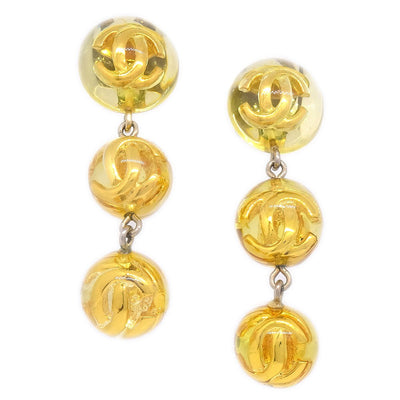 CHANEL Shaking Earrings Clip-On 25 Yellow Gold Plastic