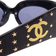 CHANEL Star Studs Sunglasses Eye Wear Black Small Good
