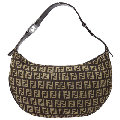 FENDI Zucchino Pattern Hand Bag Dark Brown