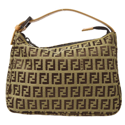 FENDI Zucchino Pattern Mini Hand Bag Brown