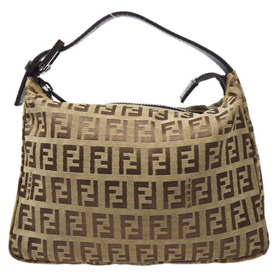 FENDI Zucchino Pattern Mini Hand Bag Pouch Brown