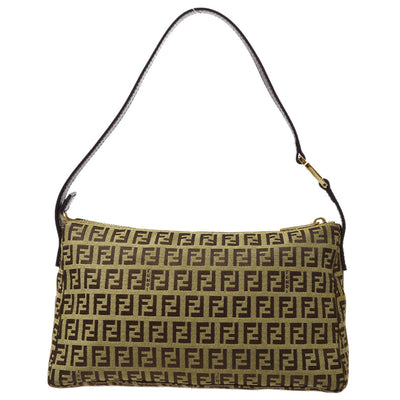FENDI Zucchino Pattern Hand Bag Pouch Brown