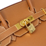 HERMES BIRKIN 30 Hand Bag Gold Couchevel