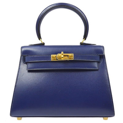 HERMES MINI KELLY 2way Hand Shoulder Bag Blue Roy Box Calf