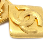 CHANEL Rhombus Earrings Gold Clip-On 96P