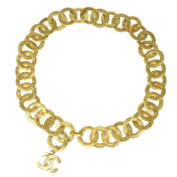 CHANEL Chain Belt Medallion Gold Small Good