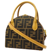FENDI Zucca Pattern 2way Mini Hand Shoulder Bag Box Brown
