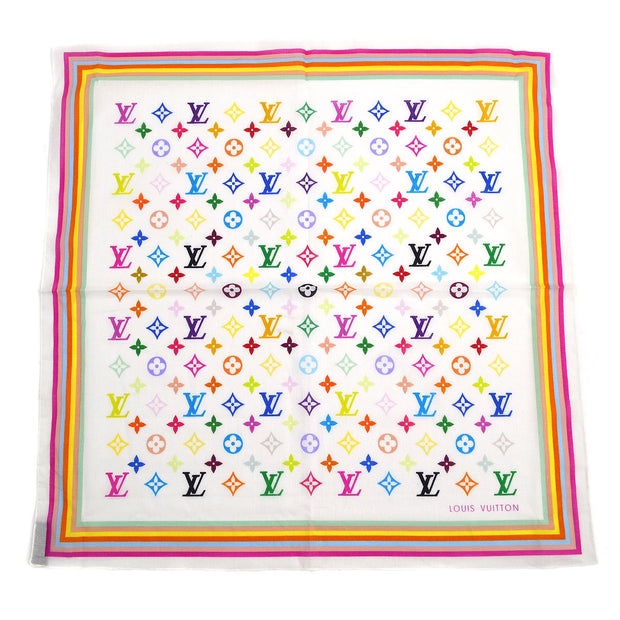 LOUIS VUITTON BANDANA SCARF MULTI COLOR WHITE M71911 Small Good