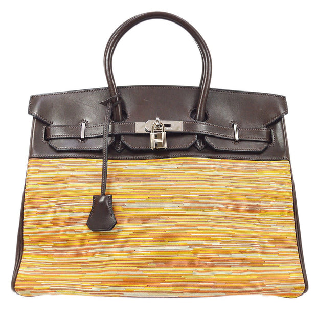 HERMES BIRKIN 35 Hand Bag Dark Brown Orange Vibrato Box Calf