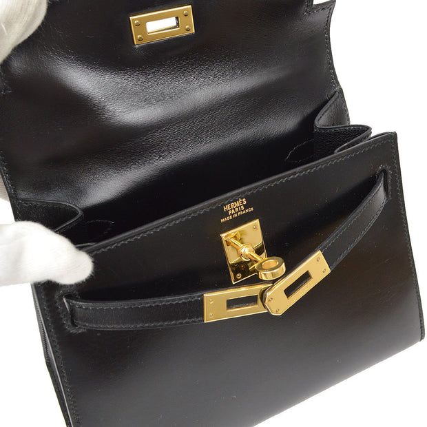 HERMES MINI KELLY 2way Hand Shoulder Bag Black Box Calf