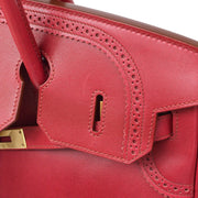 HERMES BIRKIN GHILLIES 35 Hand Bag Rouge Casaque Swift