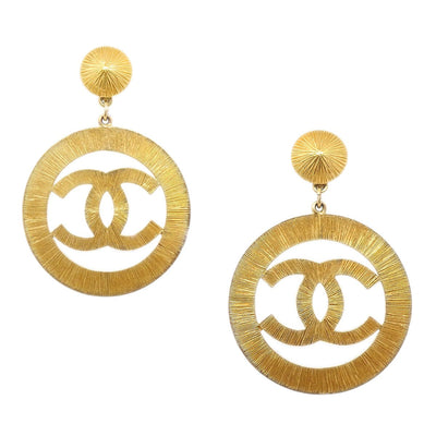 CHANEL Huge Hoop Shaking Earrings Clip-On 29 Gold