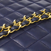 CHANEL Single Chain Shoulder Bag Navy Lambskin