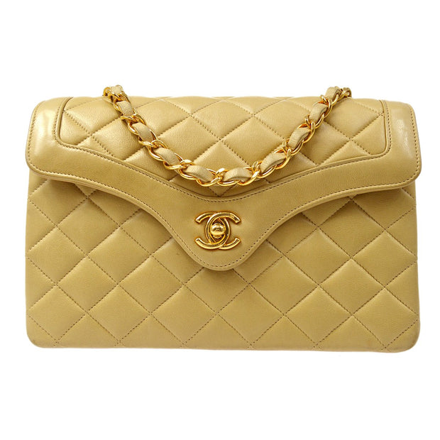 CHANEL Classic Single Flap Small Chain Shoulder Bag Beige Lambskin