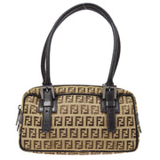 FENDI Zucchino Pattern Hand Bag Beige Brown