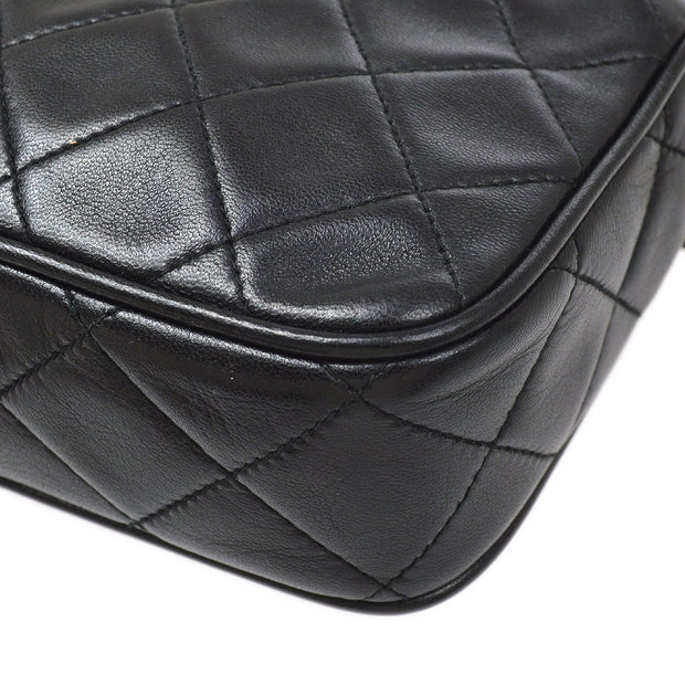 CHANEL Single Chain Shoulder Bag Black Lambskin