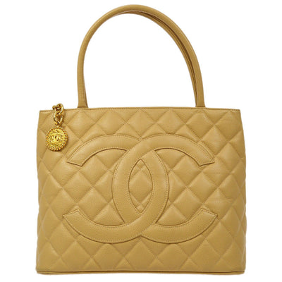 CHANEL Medallion Hand Tote Bag Beige Caviar Skin