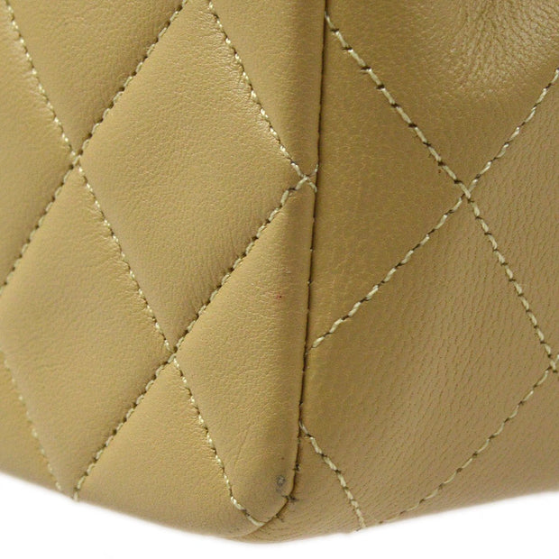 CHANEL Single Chain Shoulder Bag Beige Lambskin