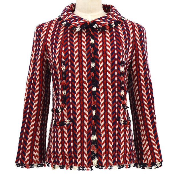 CHANEL 04A #38 Tricolor Single Breasted Jacket Tweed