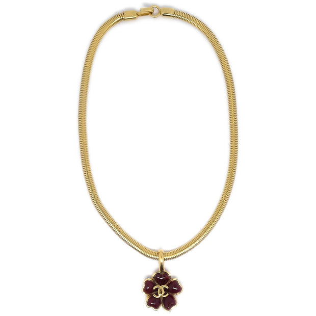 CHANEL Flower Charm Gold Pendant Necklace 97A