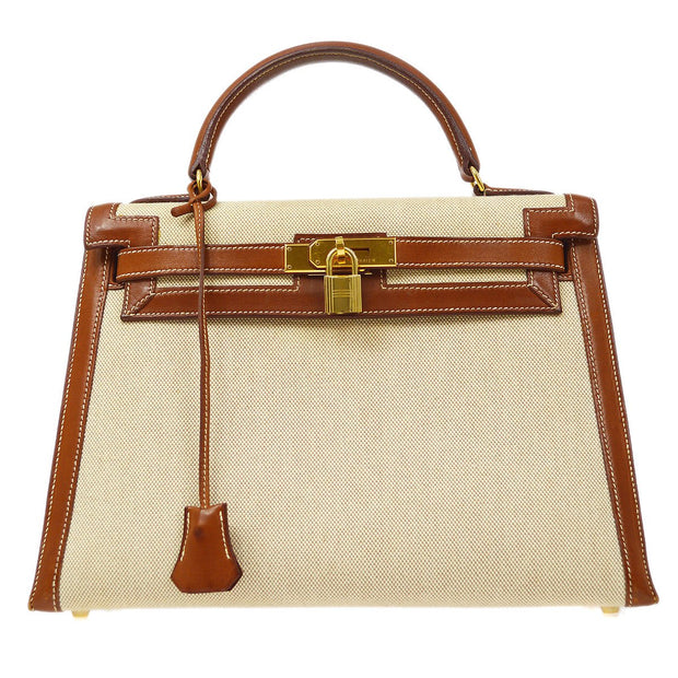 HERMES KELLY 32 SELLIER 2way Hand Shoulder Bag Bi-Color Toile H Barenia