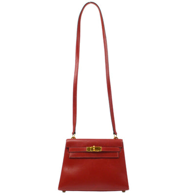 HERMES MINI KELLY Shoulder Bag Rouge Vif Box Calf
