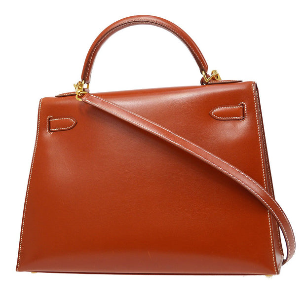 HERMES KELLY 32 SELLIER 2way Hand Shoulder Bag Terre Battue Box Calf