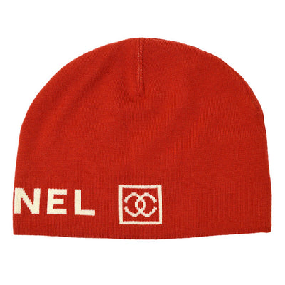 CHANEL Sports Line Knitted Hat Red Small Good