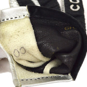 CHANEL Ladies Gloves Silver Leather #7 1/2 Small Good