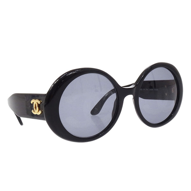 CHANEL Sunglasses Eye Wear Black Small Good