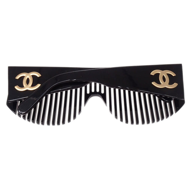 CHANEL Comb Sunglasses Eye Wear Black