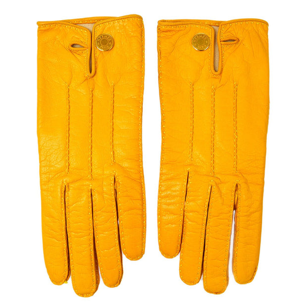 HERMES Selye Ladies Gloves Yellow #7 Small Good