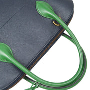 HERMES BOLIDE 35 2way Hand Shoulder Bag Bi-Color Navy Green Courchevel