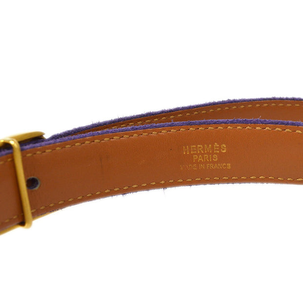 HERMES Belt Purple Gold Suede Small Good