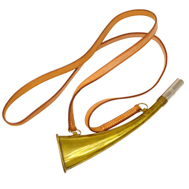 HERMES Whistle Pendant Necklace Brown Gold