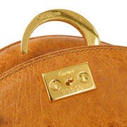 Cartier Panther Hand Bag Brown Ostrich Skin