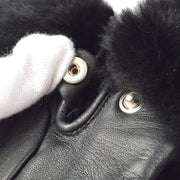 HERMES Cadena Gloves Black Fur Leather #7 1/2 Small Good