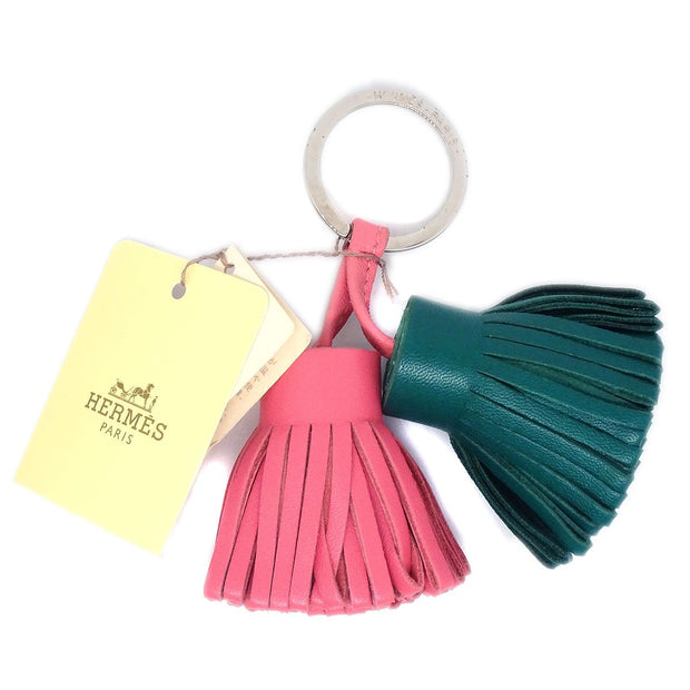 HERMES Carmen Uno Dos Fringe Key Ring Holder Malachite Rose Azalee Small Good