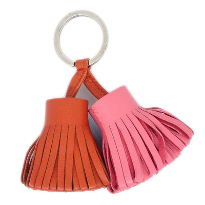 HERMES Carmen Uno Dos Fringe Key Ring Holder Cornelian Rose Azalee Small Good