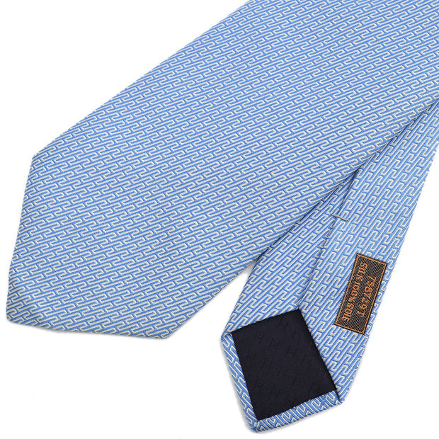 HERMES H Logos Neck Tie Light Blue Silk Small Good