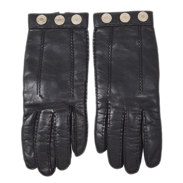 HERMES Selye Ladies Gloves Black #7 Small Good